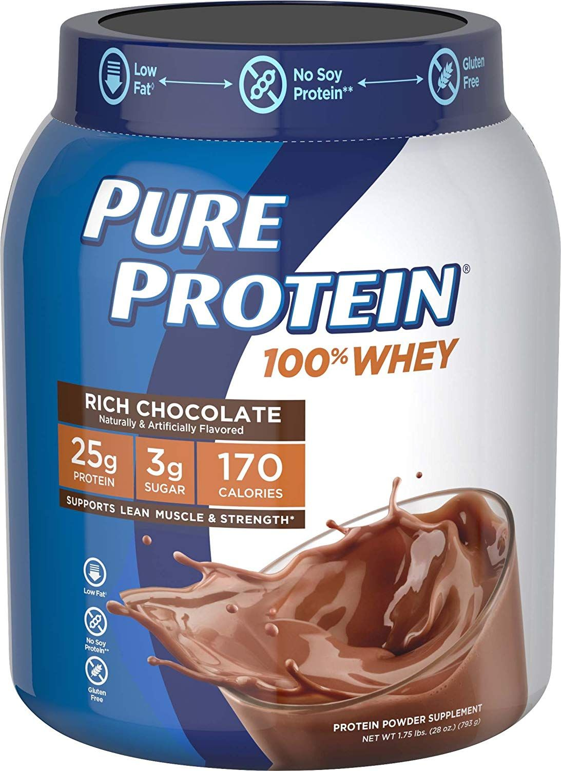 Pure Protein Powder Whey High Protein Low Sugar Gluten Free Rich Chocolate 1 75 Lbs Affiliate Link In 2020 Pure Protein Shakes Pure Protein Calories In Sugar