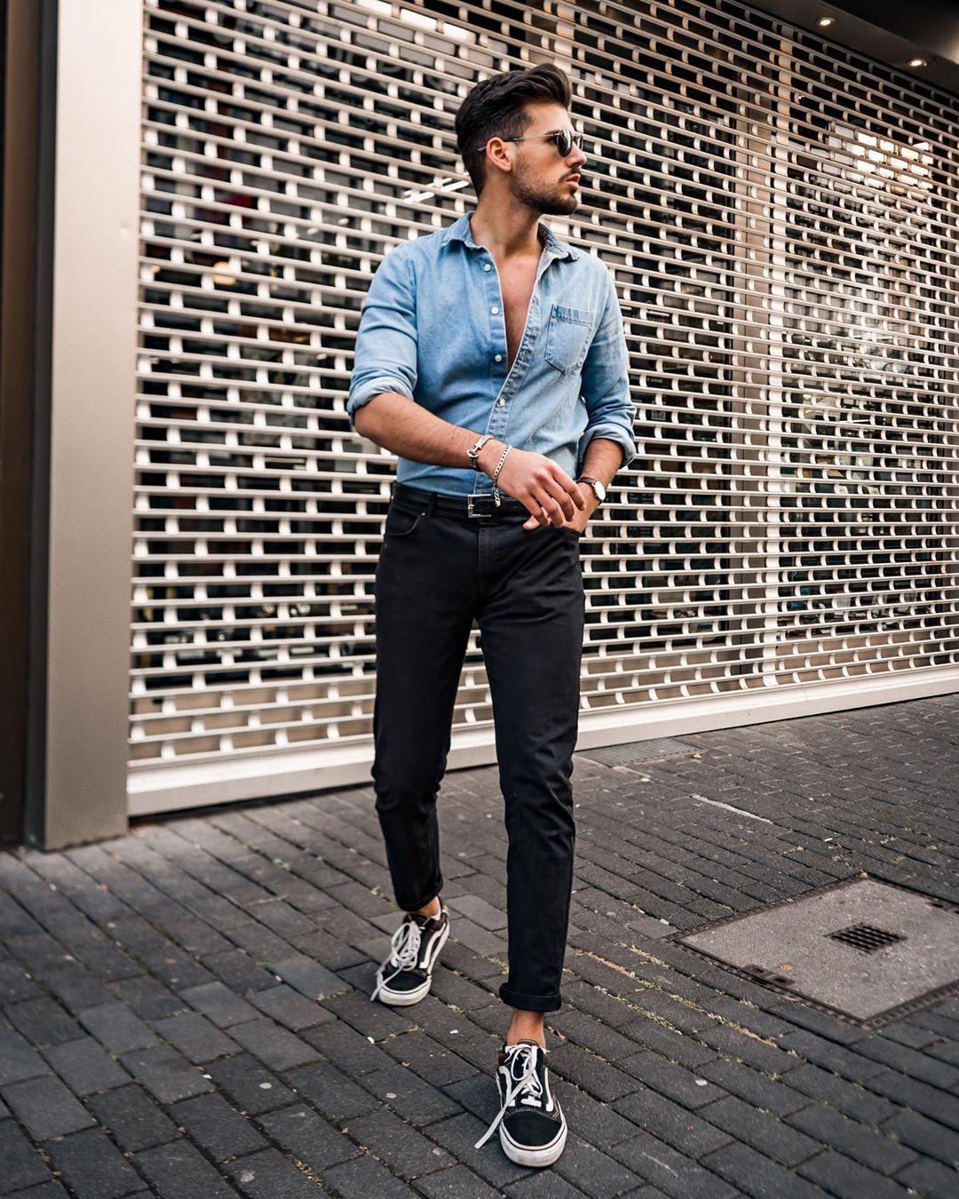 Men S Fashion Dominik Rubino On Instagram Black Jeans Blue Denim Shirt Yes Or No Mens Denim Shirt Outfit Blue Denim Shirt Outfit Denim Outfit Men [ 1350 x 1080 Pixel ]