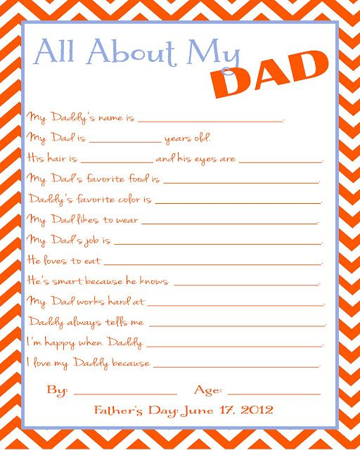 Free Father's Day Printable Questionnaire | two journeys : one life