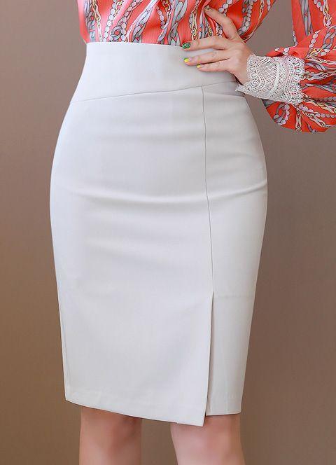 Side Slit Stretchy Pencil Skirt