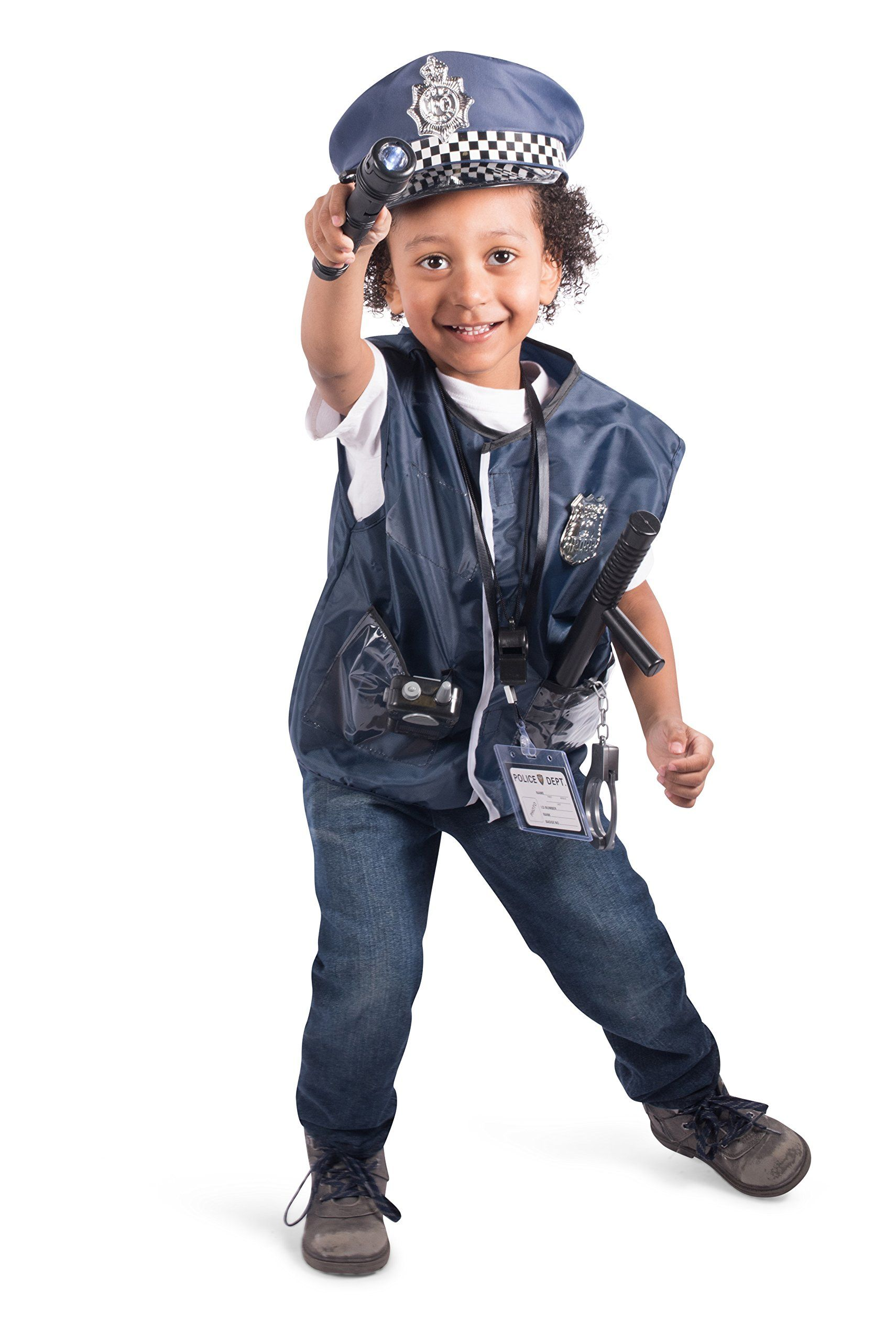 12 Pcs Police Costume For Kids With Toy Role Play Kit For Swat Detective Fbi Halloween And Dressup Click On Th Police Costume Kids Police Costume Cop Costume