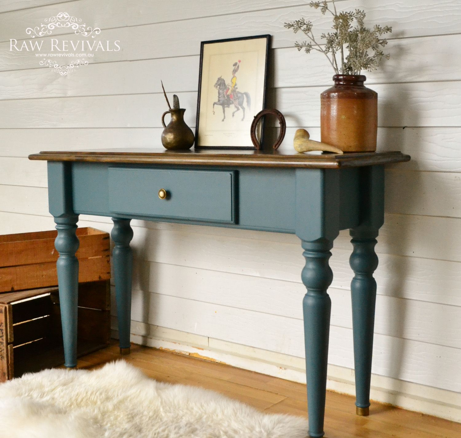 Vintage hall table painted in Mineral Fusion Paint Homestead Blue
