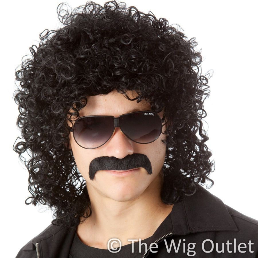 Diy-Wig Mens 80s Wig Mullet Wigs Halloween Costume Male Wig Long Curly Rocker Anime Wig