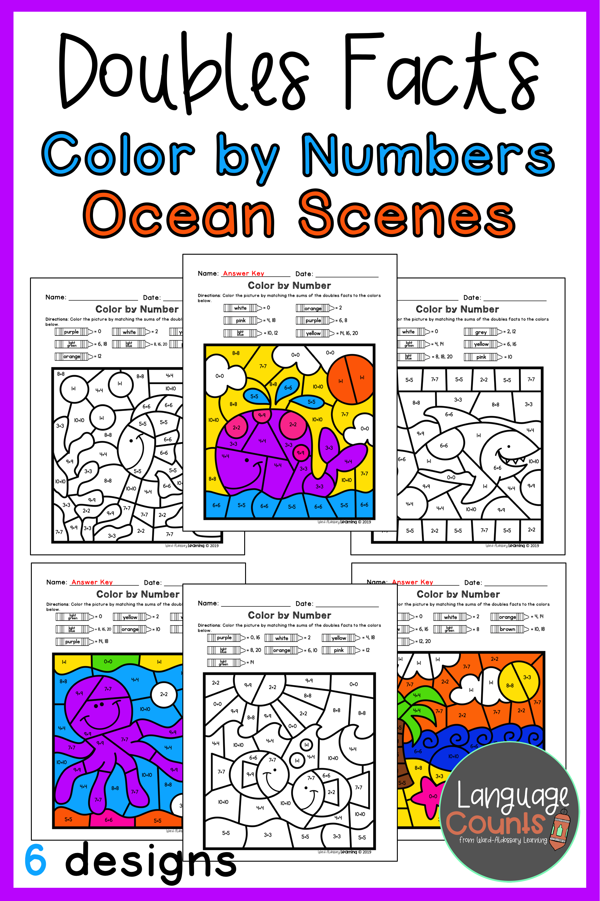 Doubles Facts To 20 Color By Number Ocean Themed