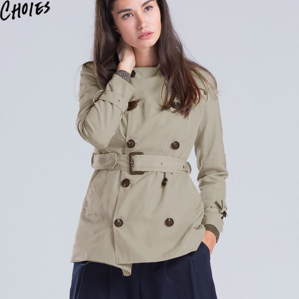 4f3a5057b2ba6 CHOIES Women Khaki Double Breasted Trench Coat Slim Belted Waist Long  Sleeve Epaulet Casual Coats Plus