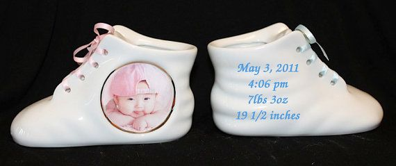 1 Personalized Photo Ceramic Baby Shoe