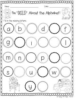 Back to School Worksheets and Activities, Math & Literacy