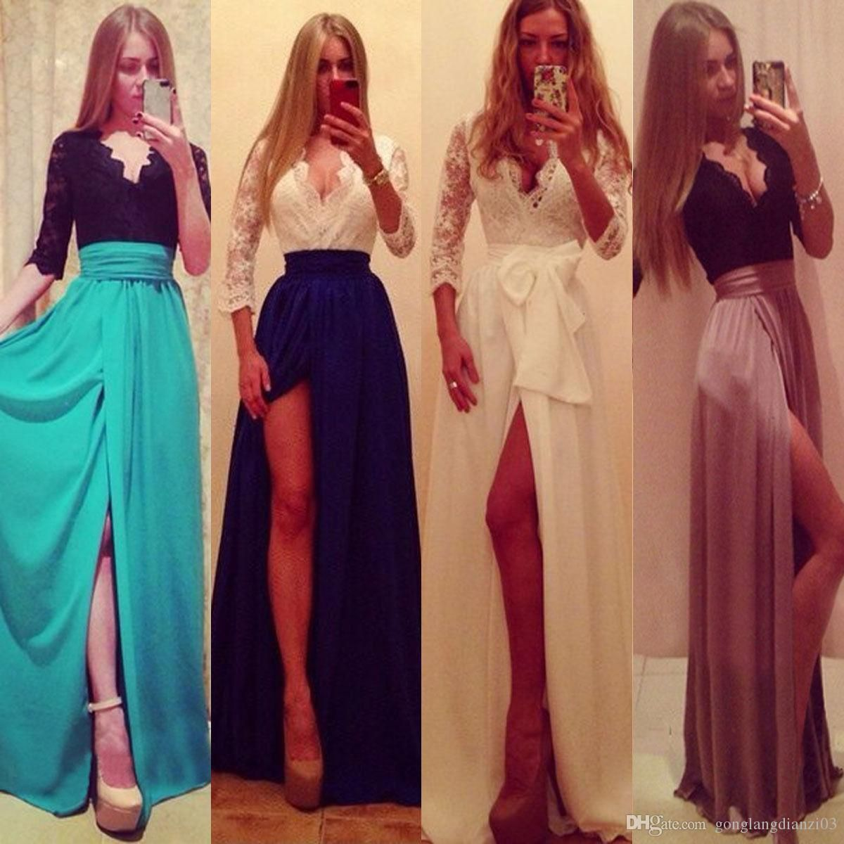 New Sexy Long Formal Lace Party Cocktail Evening Prom Wedding Maxi ...