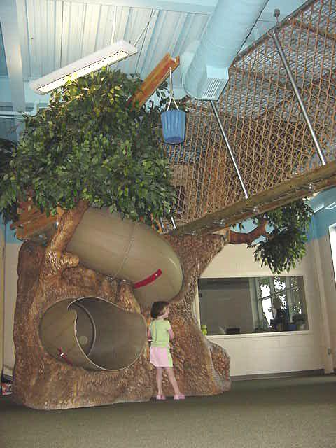 Indoor playground tree slide and bridge from dunrite for Indoor play slide