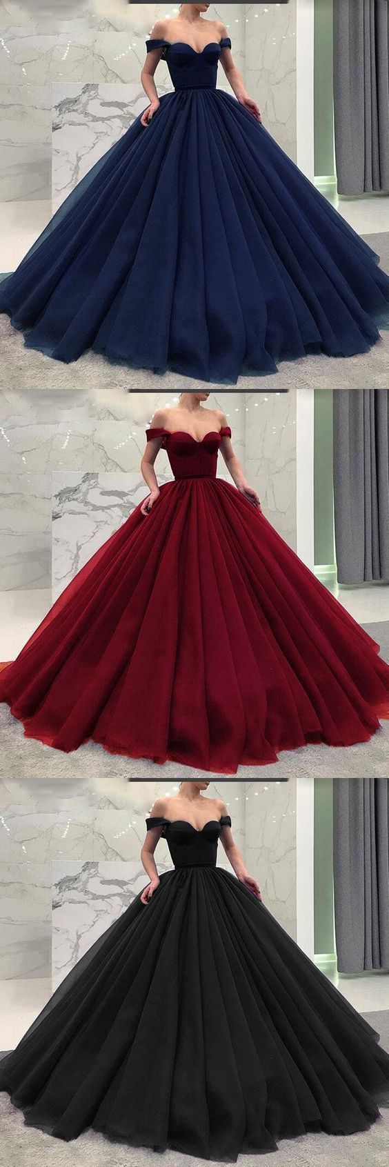 Fashionable Poofy Ball Gown Burgundy Wedding Dresses Off the Shoulder Prom Gown Evening Gowns