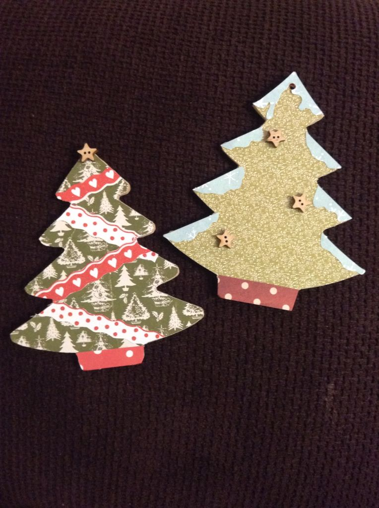 christmas tree ornaments paper decoupage on wooden cutouts with star buttons christmas
