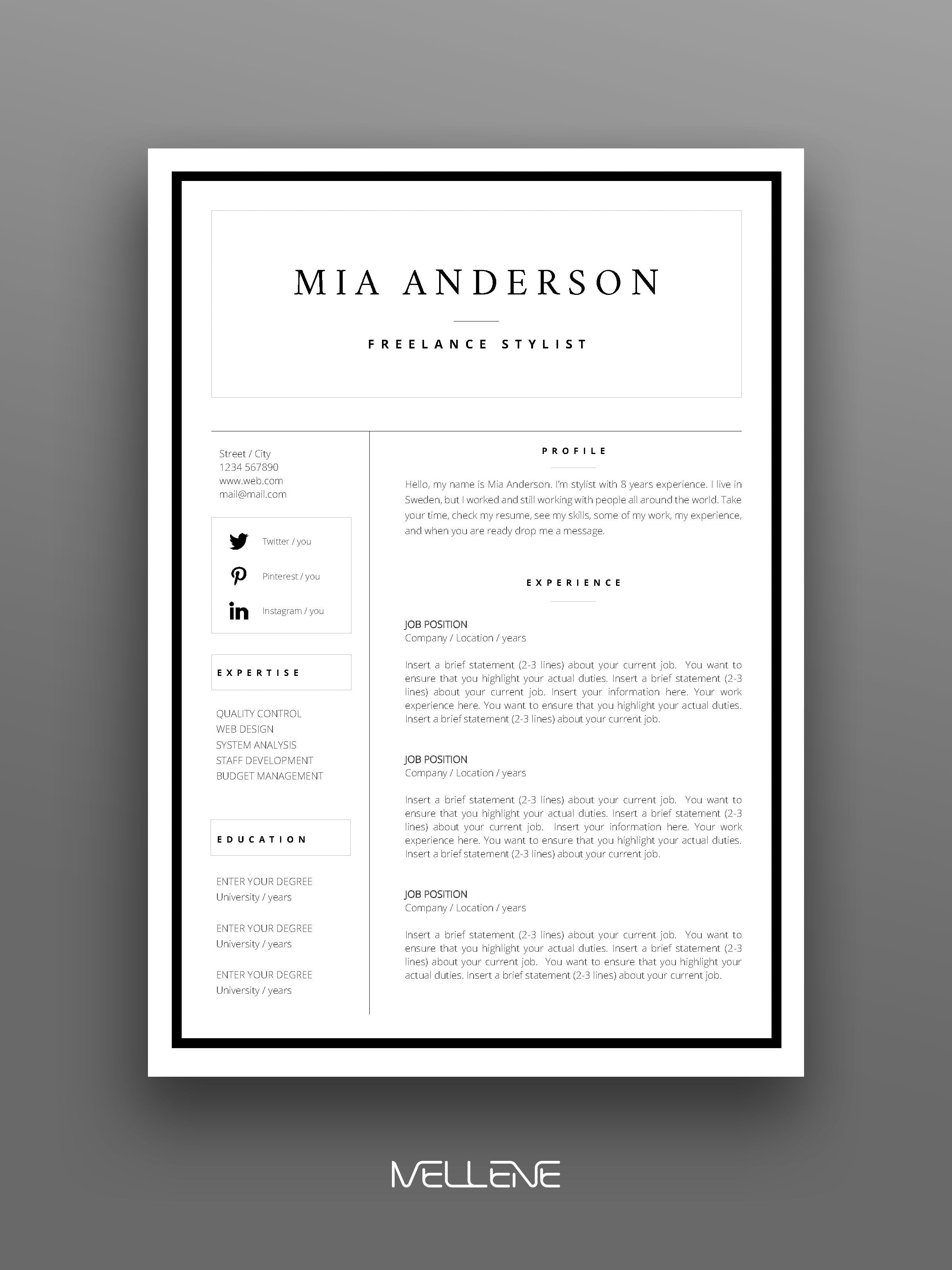 2 Page Resume Cv Design Cover Letter Free Icons And Usage Manual Professional Creative Layout Resume Design Free Personal Branding Design Resume Design