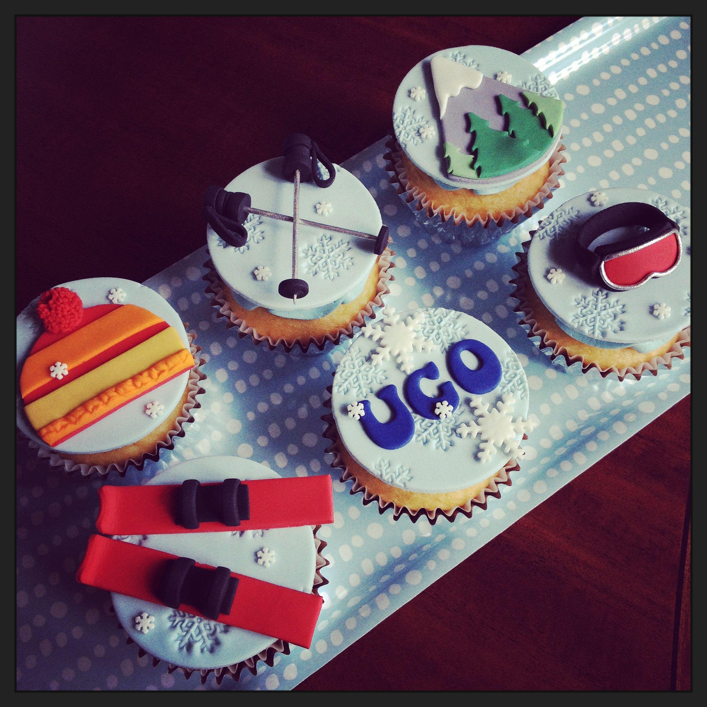 Ski themed cupcakes ~ Kakes by Kristi