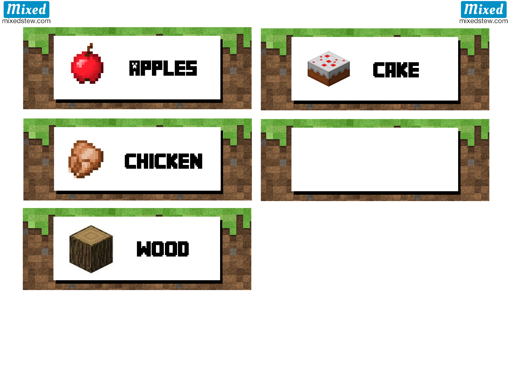 Ultimate Minecraft party printable food labels - Mixedstew.com ...