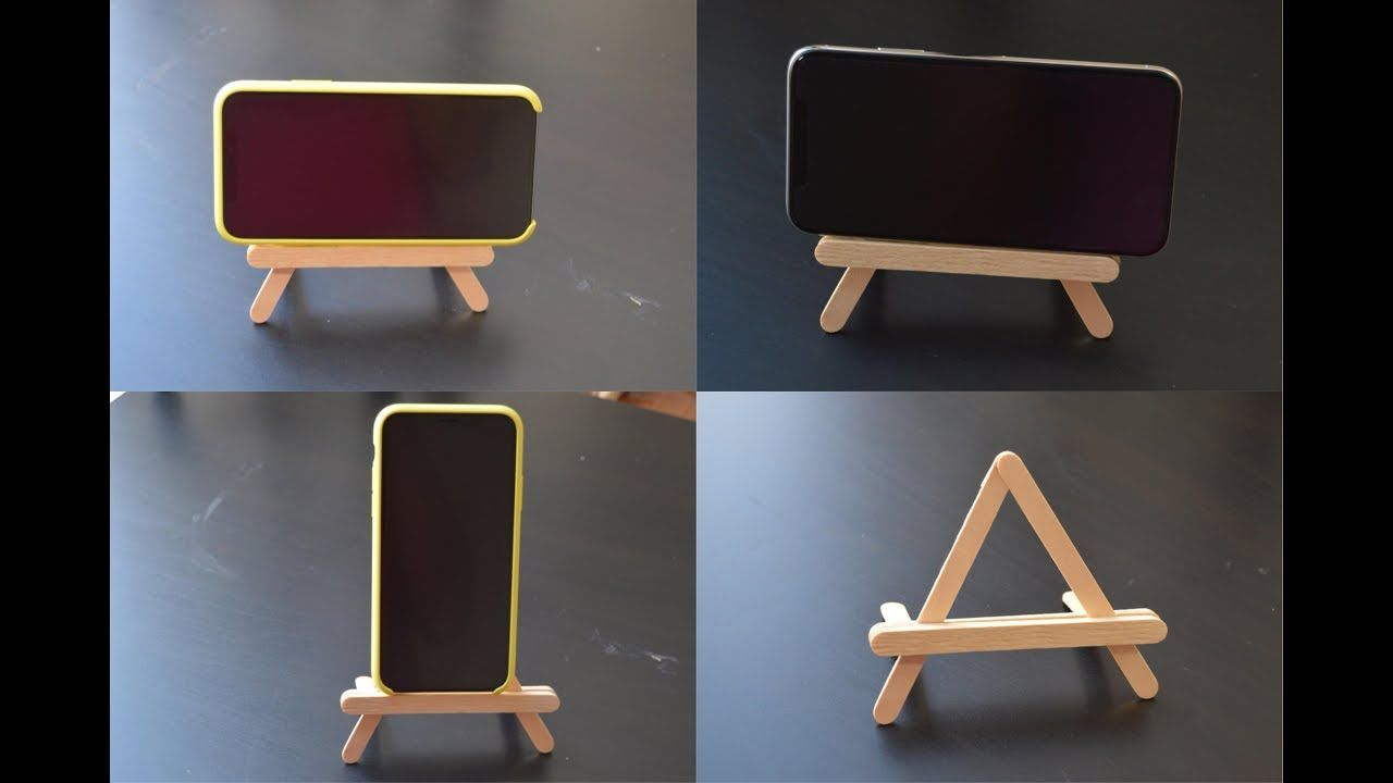Diy Popsicle Stick Mobile Holder Popsicle Stick Crafts Phone Stand Craft Stick Crafts Diy Phone Stand Diy Phone Holder