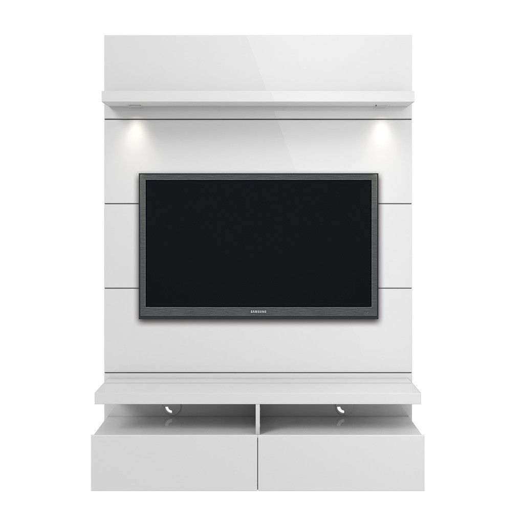 Cabrini 1.2 Floating Wall Theater Entertainment Center in Nut Brown ...