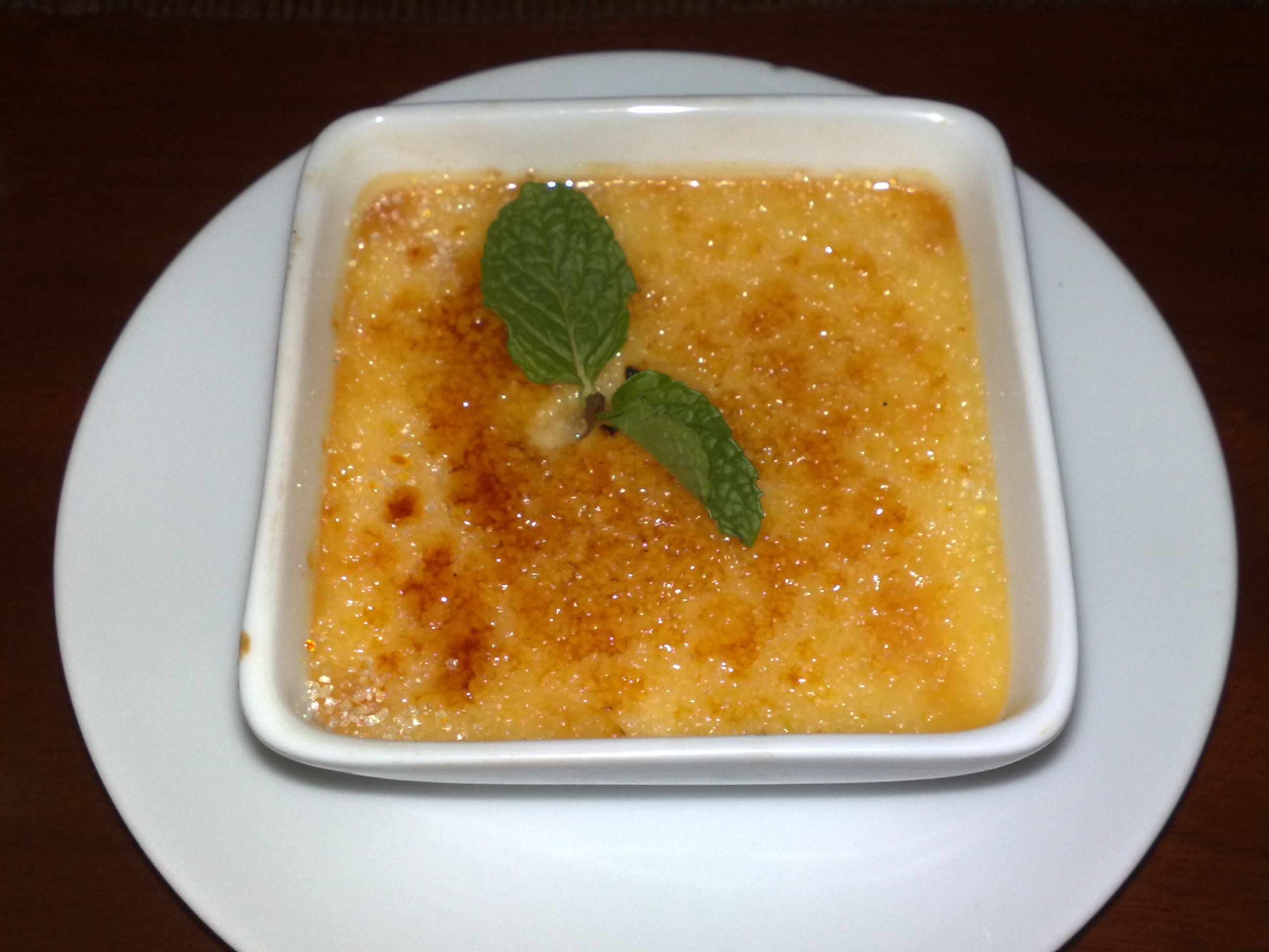 Passion fruit and coconut crème brûlée