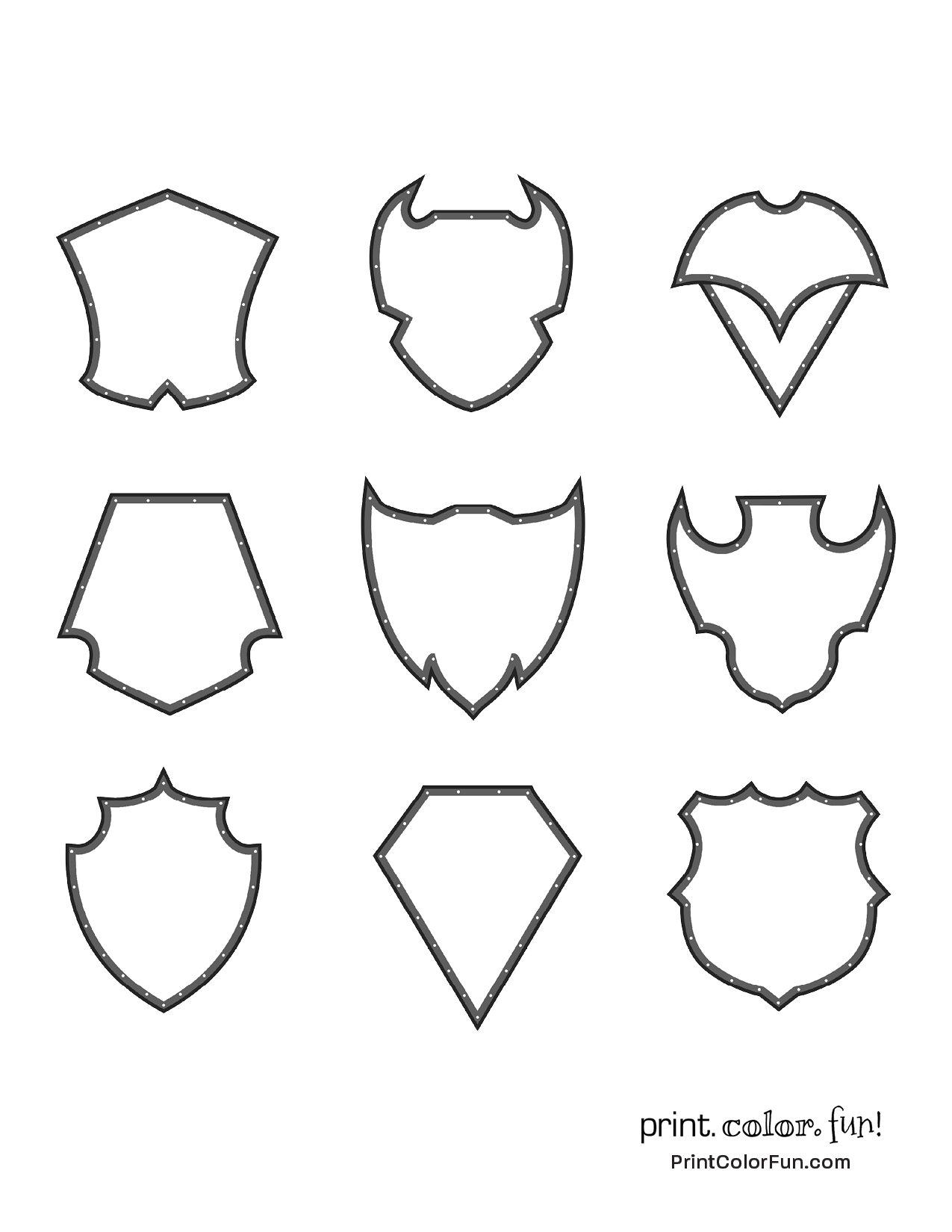 Set of medieval-style shields coloring page - Print. Color. Fun