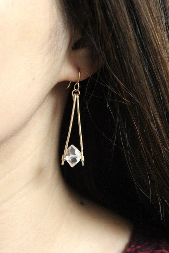 Herkimer Diamond Apex Drop Earrings | Ohrring-Anleitung, Echte ...