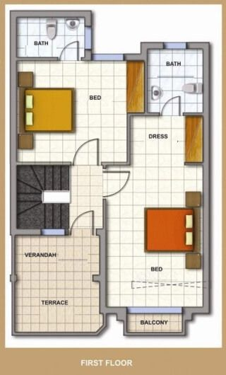 Duplex Floor Plans | Indian Duplex House Design | Duplex House Map ...