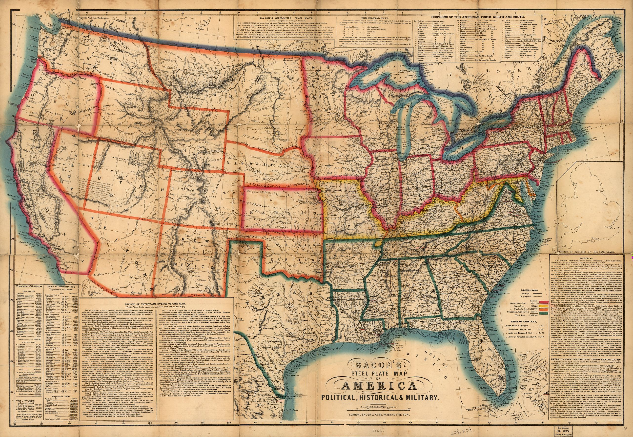 Map Of the Us In 1861 State Names Civil War Maps | Usa ...