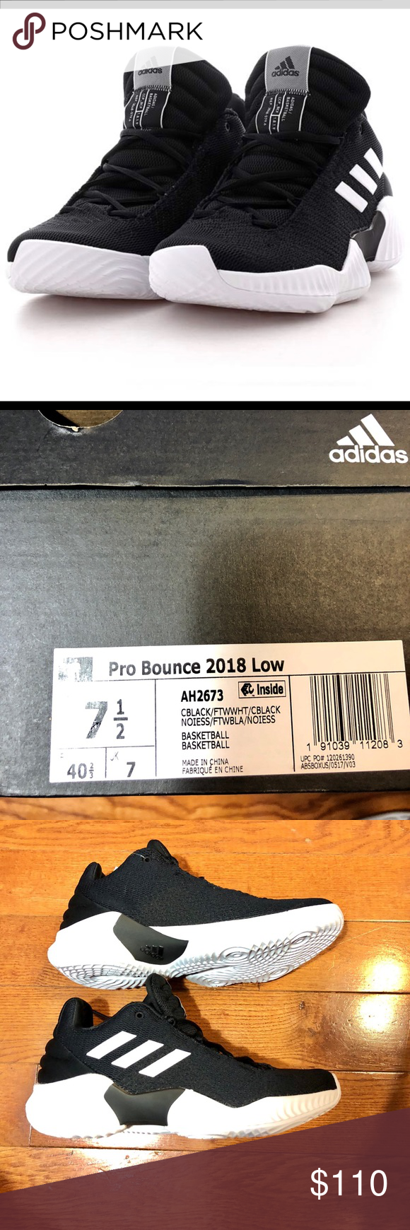 a07ea4c3efcf1 ADIDAS PRO BOUNCE 2018 LOW SIZE 7.5 BLACK 🔹AUTHENTIC 🔹NEW IN BOX 🔹NO