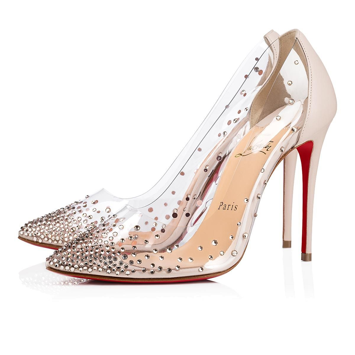 Christian Louboutin Beige Clear PVC And Leather