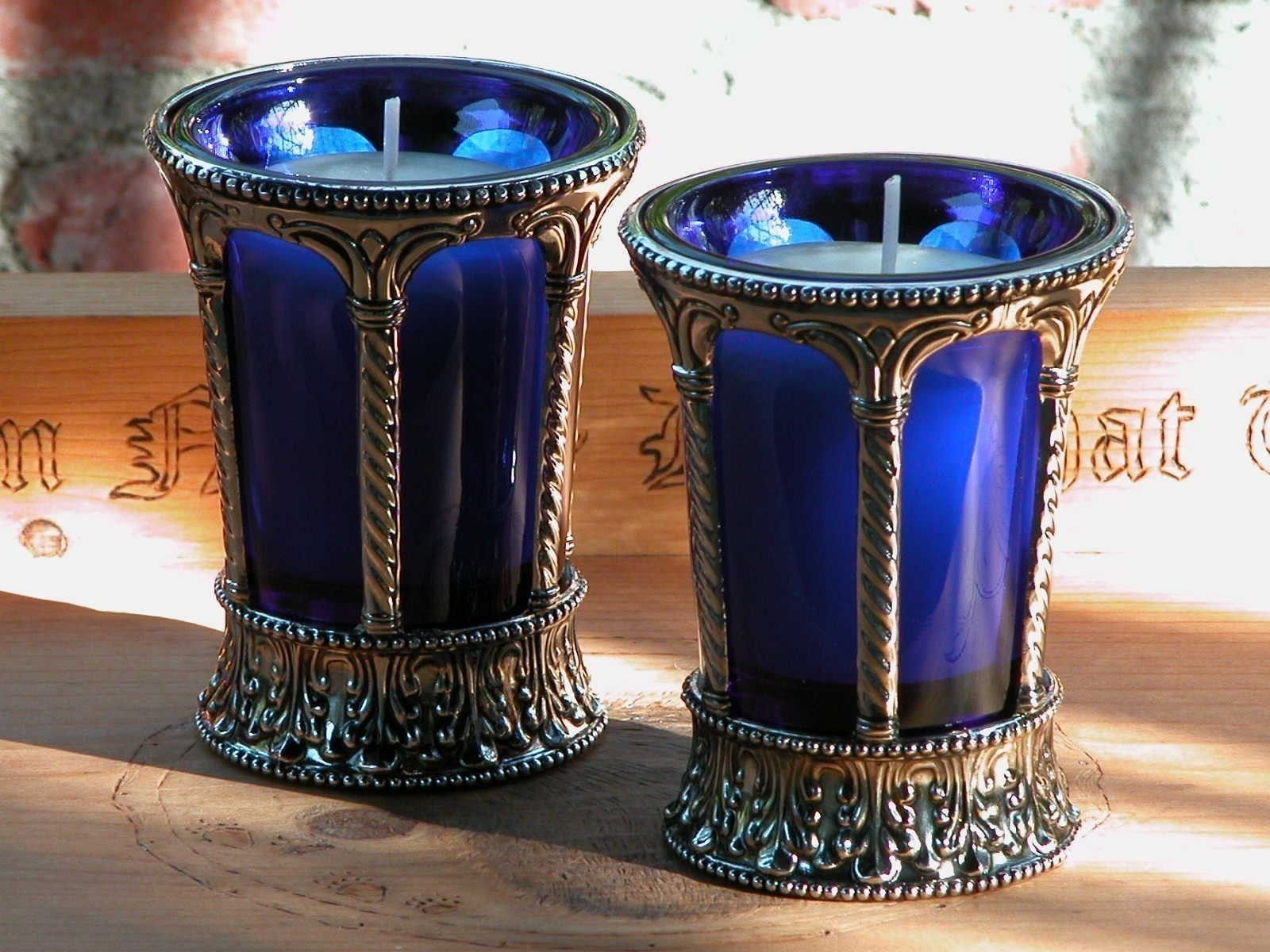 Magickal Ritual Sacred Tools:  Witches Gothic Cobalt Glass and Nickel Chalice Cup with Votive Candle.