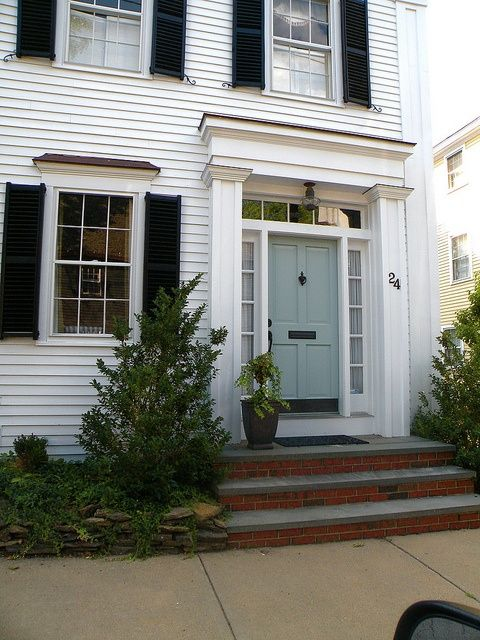 I want my front door this color blue white house for Colonial exterior paint colors