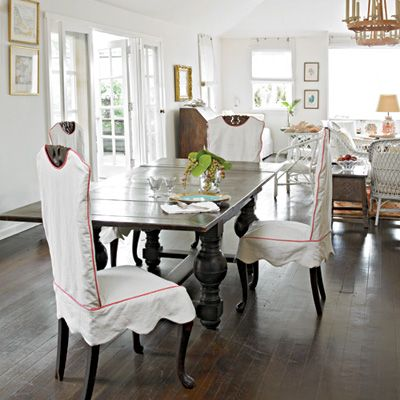 formal dining room designs with chair cover | 7 Charming Florida Beach Houses | Slipcovers for chairs ...