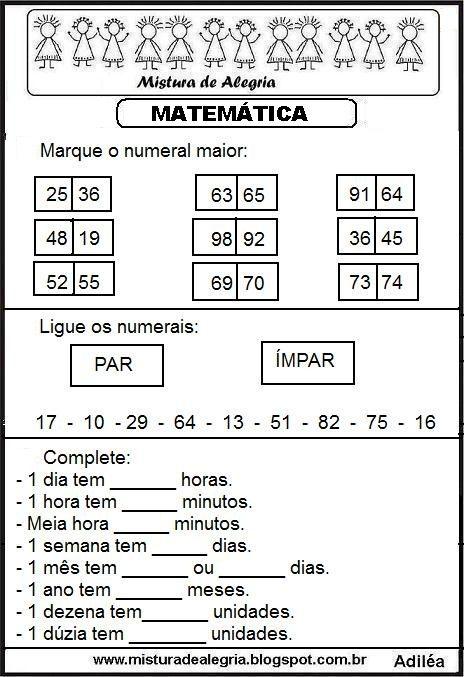 Atividade De Matematica Series Iniciais Alfabetizacao Imprimir