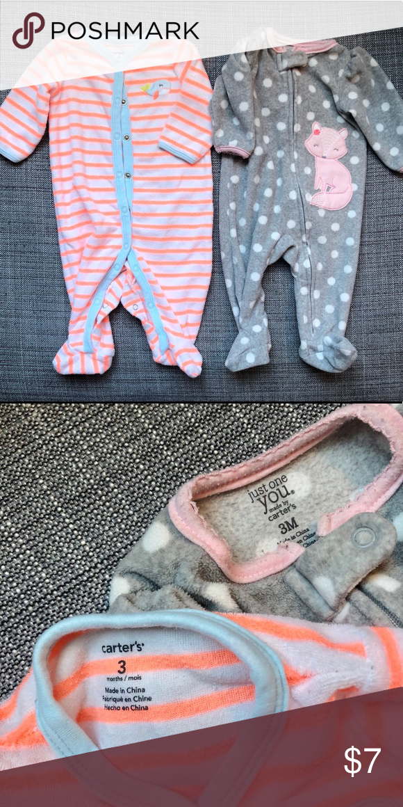 32f01fc5e Carter's Girl Sleepers (3m) Two good used condition Carter's Sleepers • One  terry cloth striped with embroidered whale. • One grey polka-dot fleece  with ...