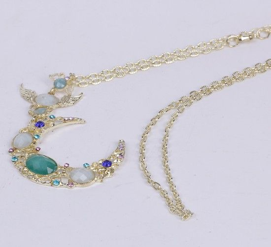 74cm Blue Moon Necklace Sweater Chains Gemstone Jewelry Vintage Charms