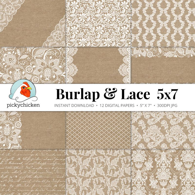 Burlap Lace Digital Paper 5x7 - Burlap & Lace rustic wedding ...