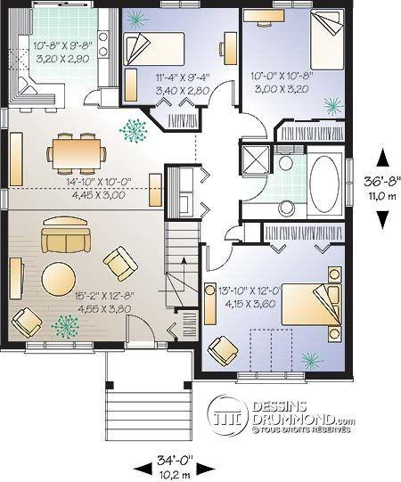 Détail du plan de Maison unifamiliale W2101 Maison Pinterest - image de plan de maison