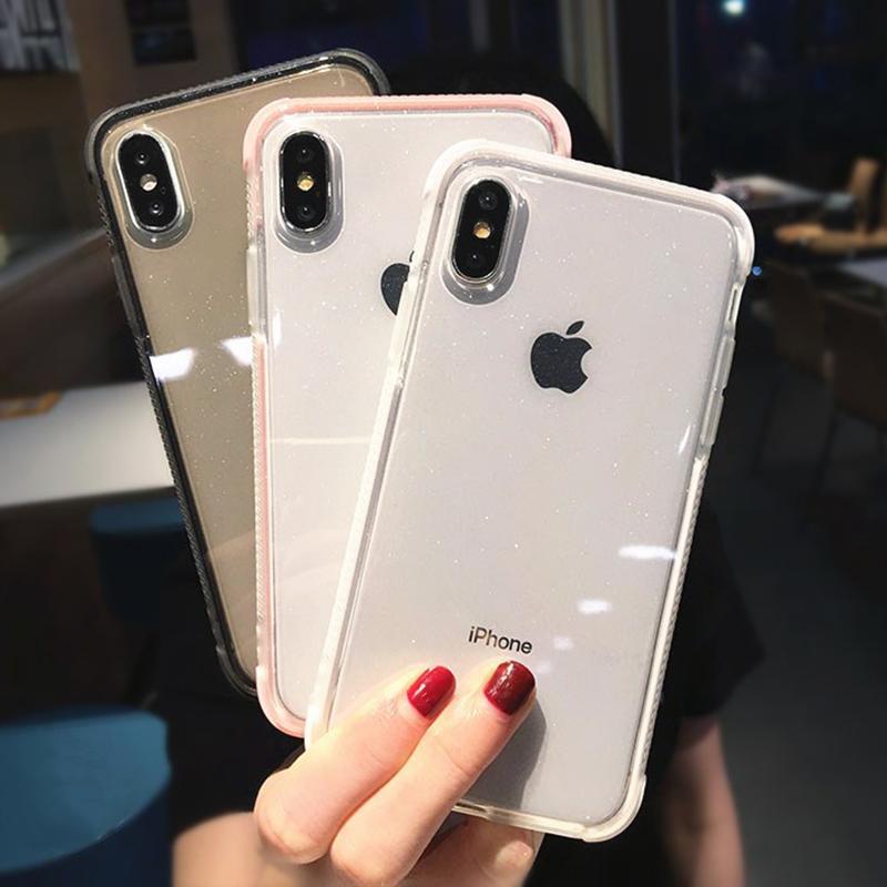 Glitter Powder Transparent Phone Case For Iphone 11pro Max X Xr Xs Max 8 7 Plus 6 6s Plus Soft Tpu Shockp Iphone Transparent Phone Case Iphone Transparent Case