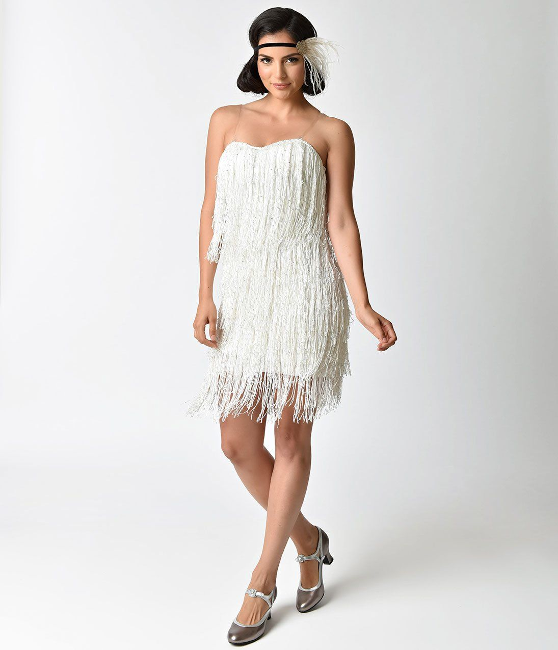 8928cc87fc1 1920s Style White   Iridescent Sequin   Fringe Flapper Dress – Unique  Vintage