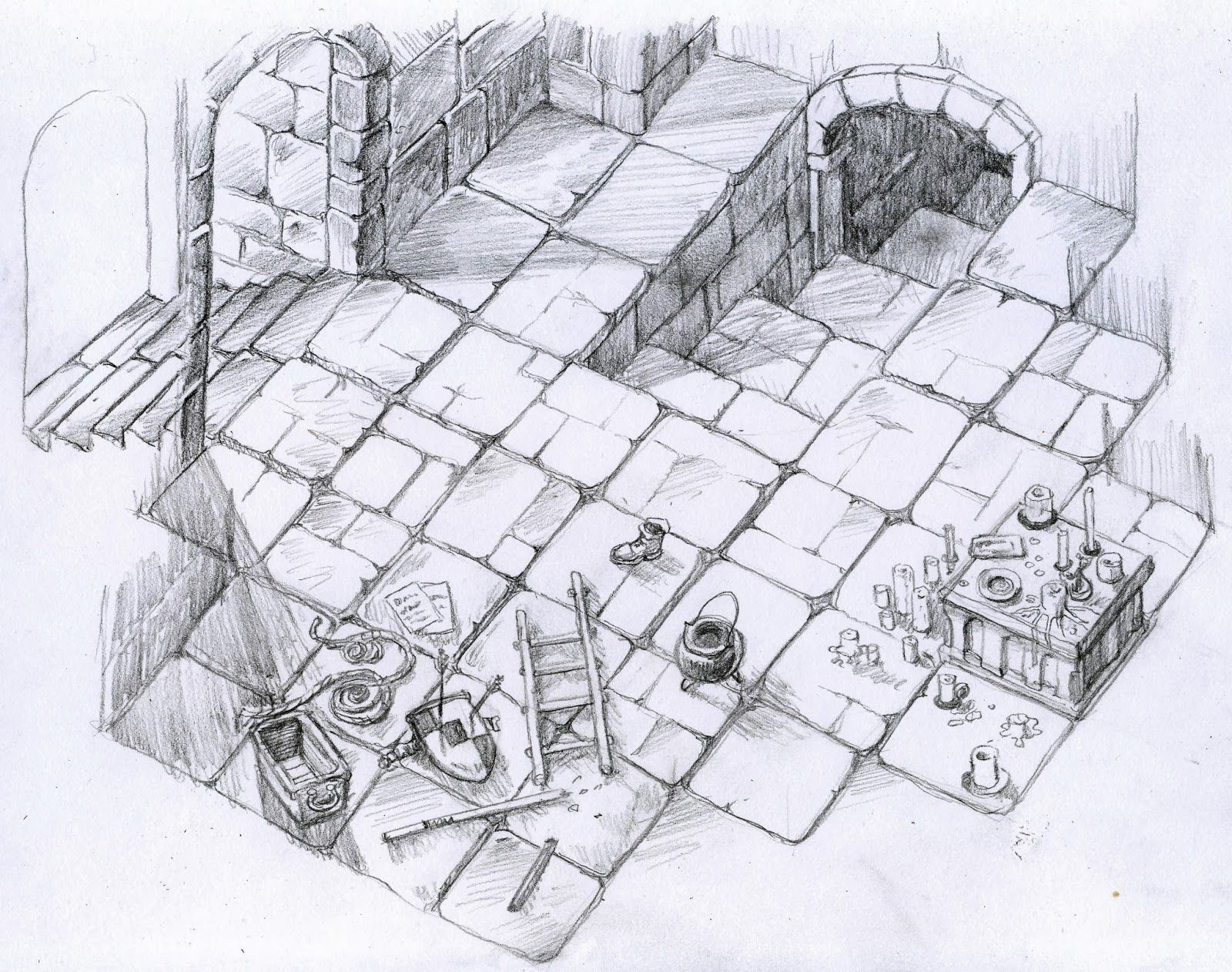 [Free Battlemap] Dungeon Entrance with Debris and Altar