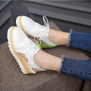 209fb10184fc3 Wedge Oxfords Womens Mid Heels Platform Lace Up Brogue Sandals Creeper Shoes