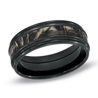 mens 80mm realtree max 4 camouflage inlay comfort fit black zirconium wedding band size 10 - Camo Wedding Rings For Him