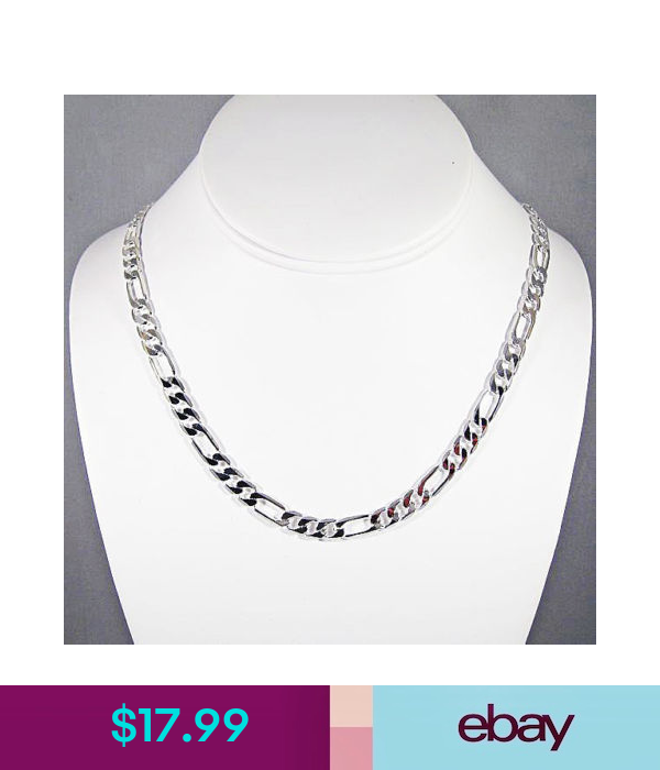 Jewelry Gift for Women and Girls Glitzs Jewels 925 Sterling Silver Necklace Italian Chain, Figaro 220