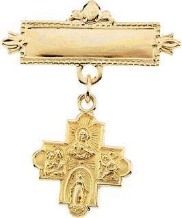 14K Yellow Gold 12mm Four-Way Medal Baptismal Pin