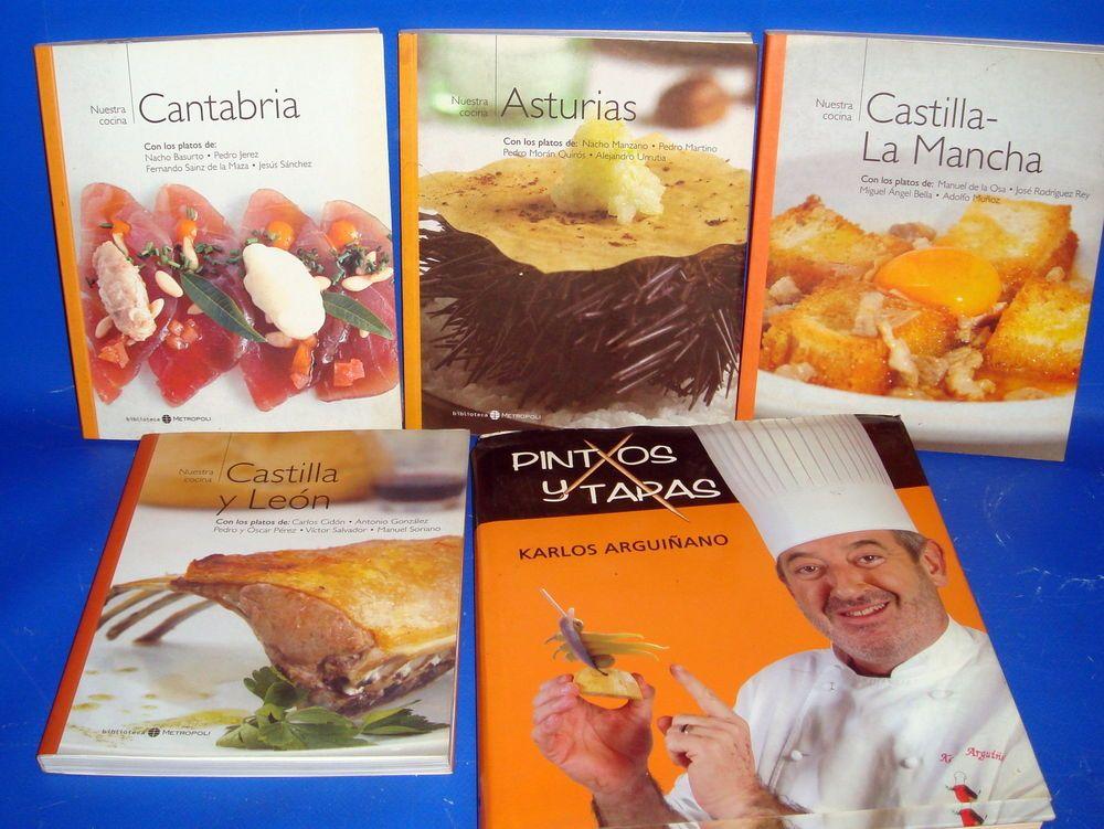 Libro 5 libros sobre cocina PINTXOS Y TAPAS-ARGUIÑANO y nuestra cocina