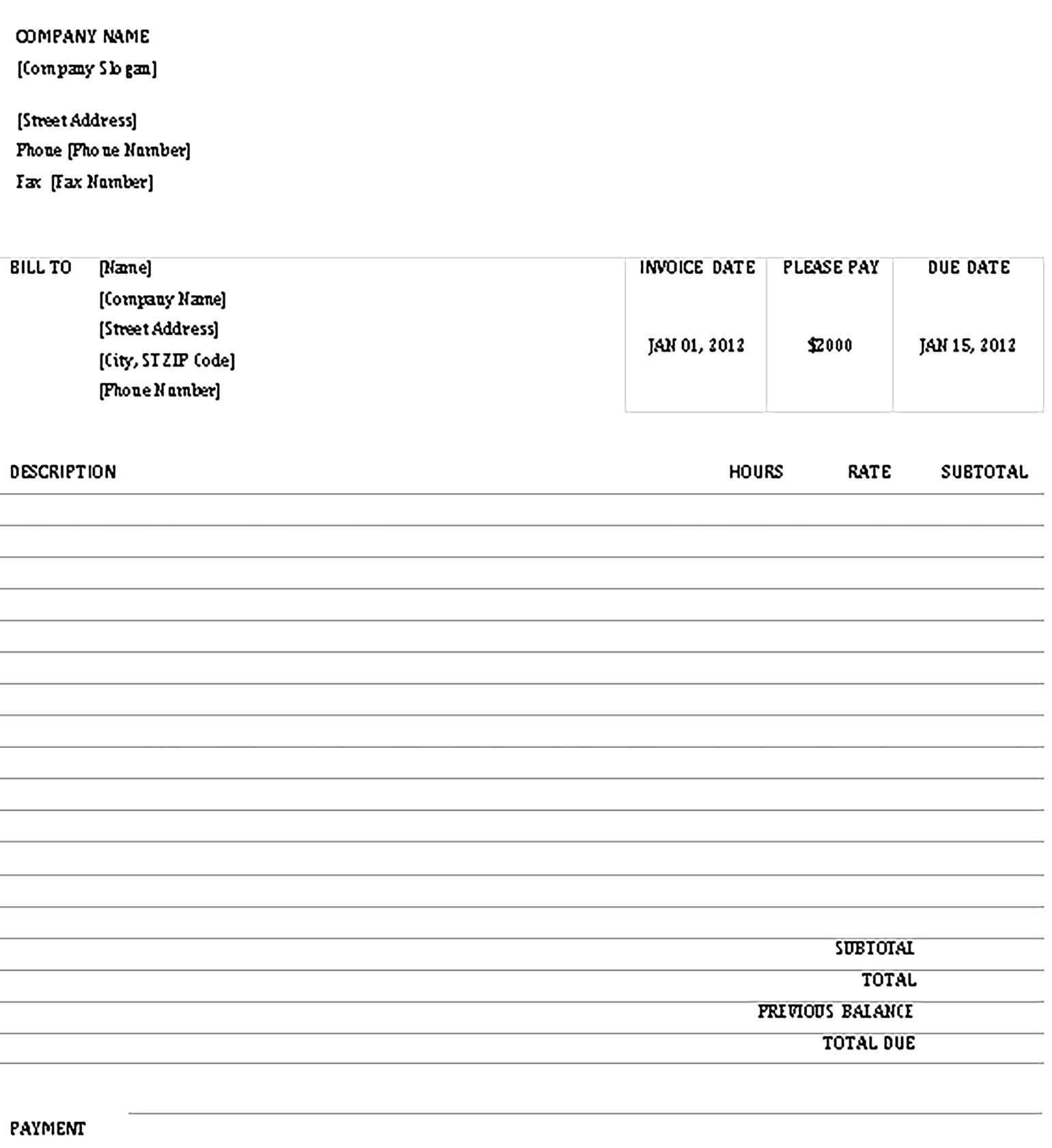 Sample Invoice Receipt Template Receipt Template Business Template Templates