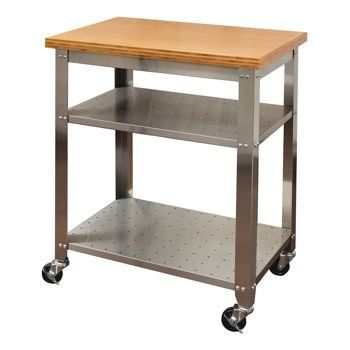 Amazon Com Seville Classics Stainless Steel Spacious Movable Kitchen Prep Table With Bamboo Top And 2 Stainless Steel Shelves