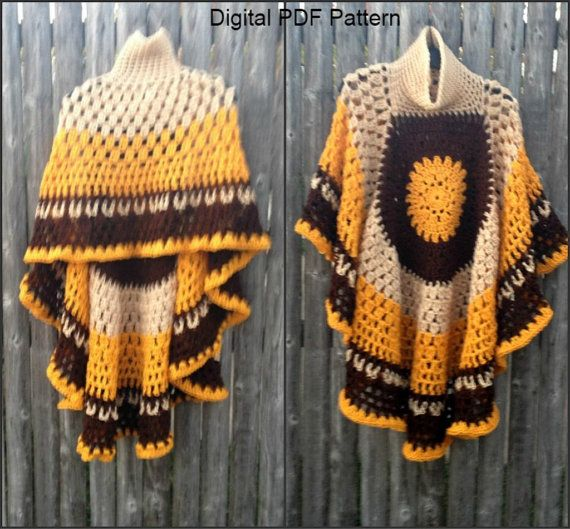 Circular Asymmetric Poncho Shawl Crochet Pattern *Updated* Short ...