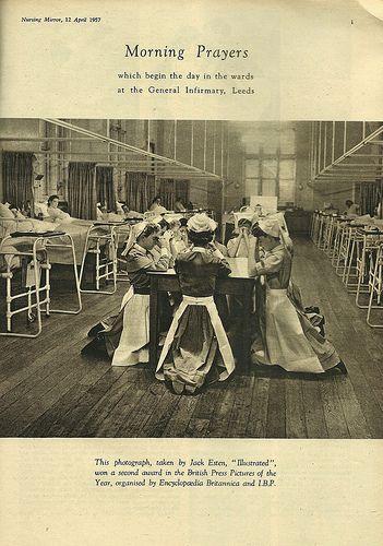 Morning Prayers Leeds General Infirmary Vintage Nurse Nursing Pictures History Of Nursing