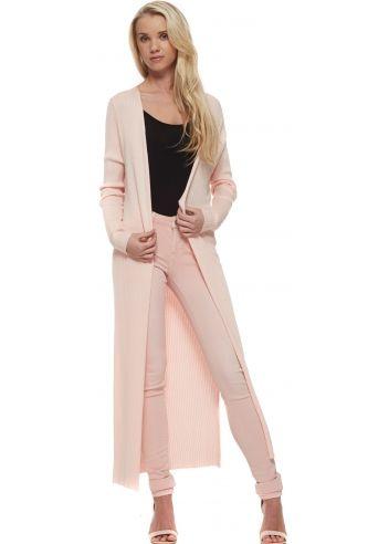 Laetitia Mem Baby Pink Ribbed Open Front Longline Cardigan ...