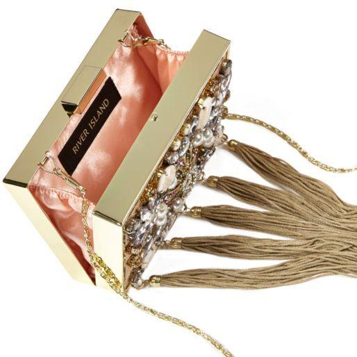 Gold tone chain tassel embellished box bag