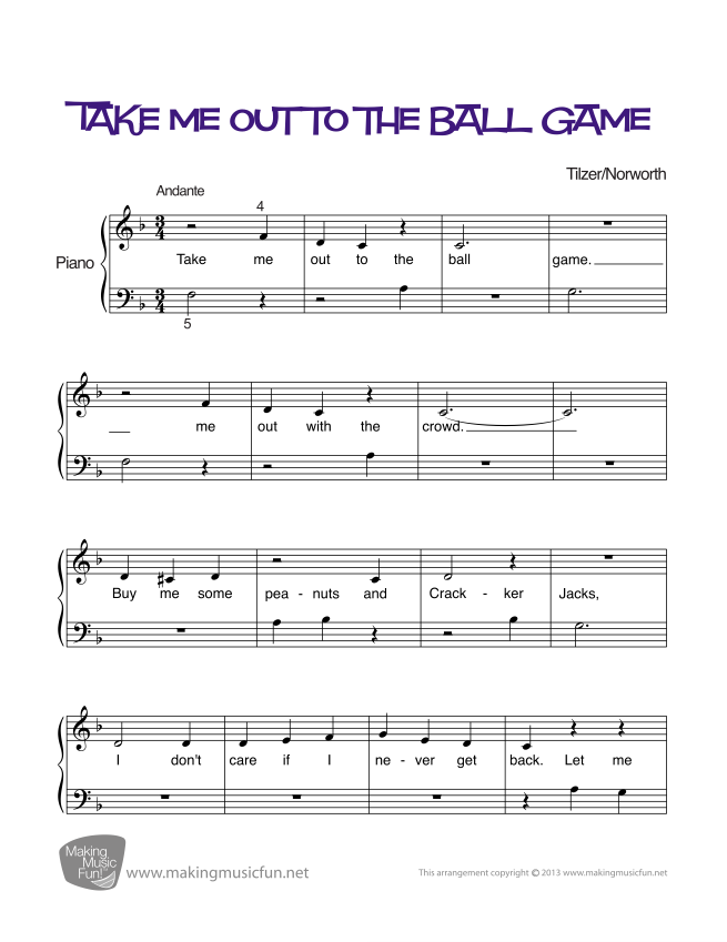 Piano beginning piano sheet music : Take Me Out to the Ball Game - Beginner Piano Sheet Music (Digital ...